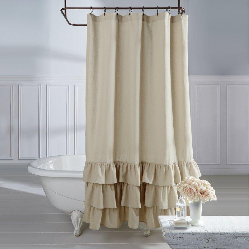 Stephania Vintage Ruffle Linen Shower Curtain & Reviews | Joss & Main