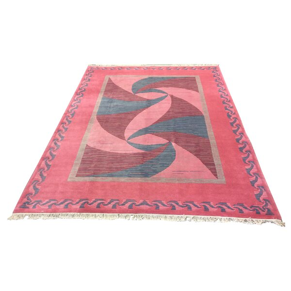 One-of-a-Kind Kohlmeier Hand-Knotted Wool Pink Area Rug by Latitude Run