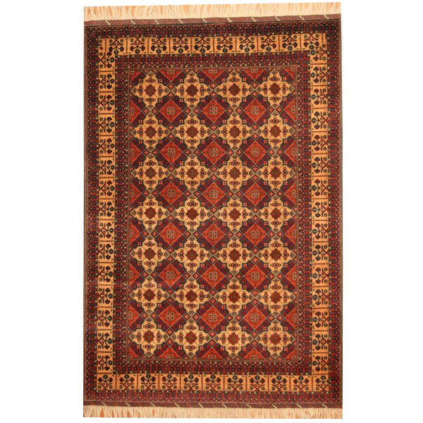 Afghan Tribal Turkoman Hand-Knotted Gold/Red Area Rug by Herat Oriental