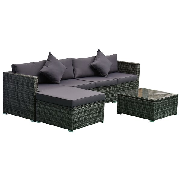 Aeddan Outdoor 6 Piece Rattan Sectional Seating Group with Cushions by Latitude Run