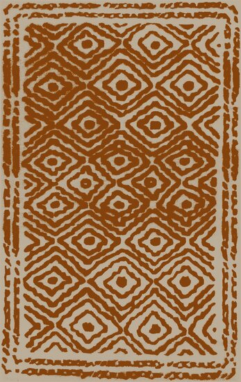 Sala Hand Woven Wool Burnt Orange/Beige Area Rug by Bungalow Rose