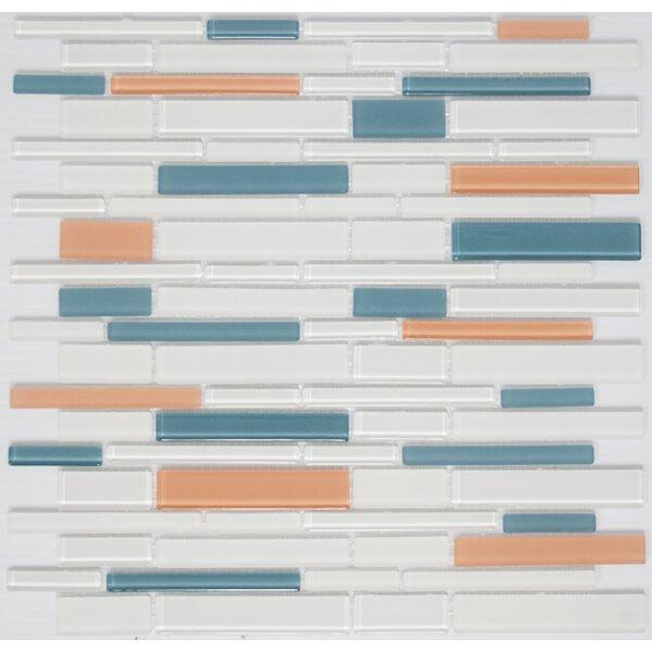 Signature Line Apricot Glass Mosaic Tile in Blue/Orange by Susan Jablon