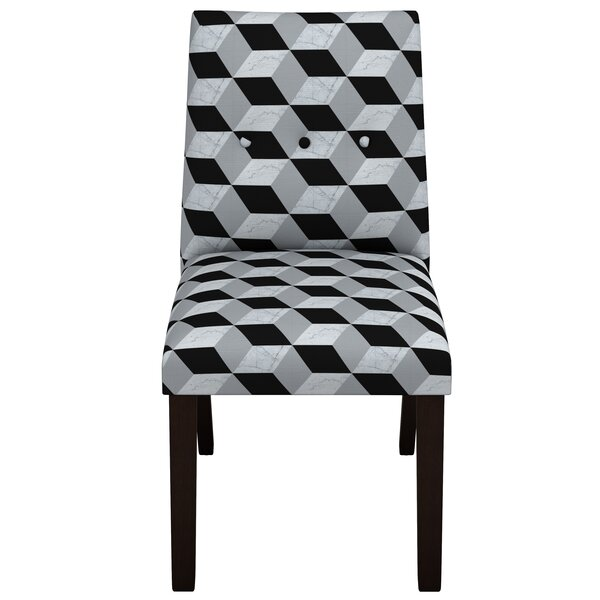 Tegan Marble Cube Button Tapered Parsons Chair by Latitude Run