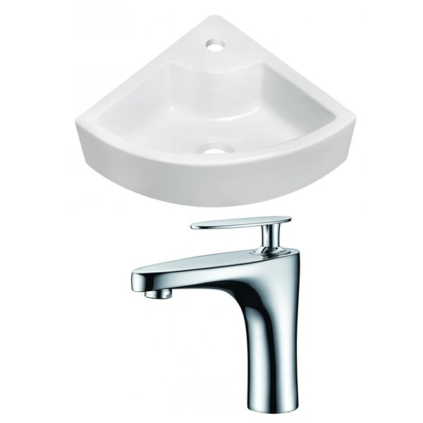 Above Counter Ceramic 26 Corner Bathroom Sink with Faucet and Overflow