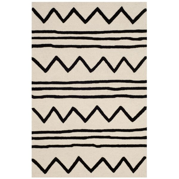 Claro Zigzag Hand-Tufted Ivory/Black Area Rug by Harriet Bee