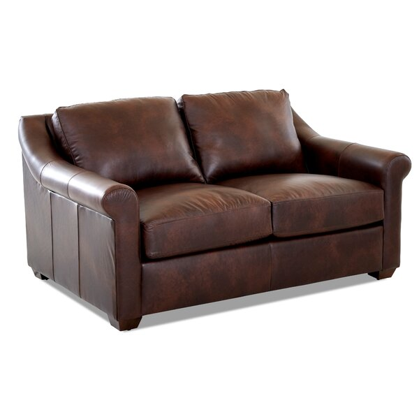Potrero Leather Loveseat by Charlton Home