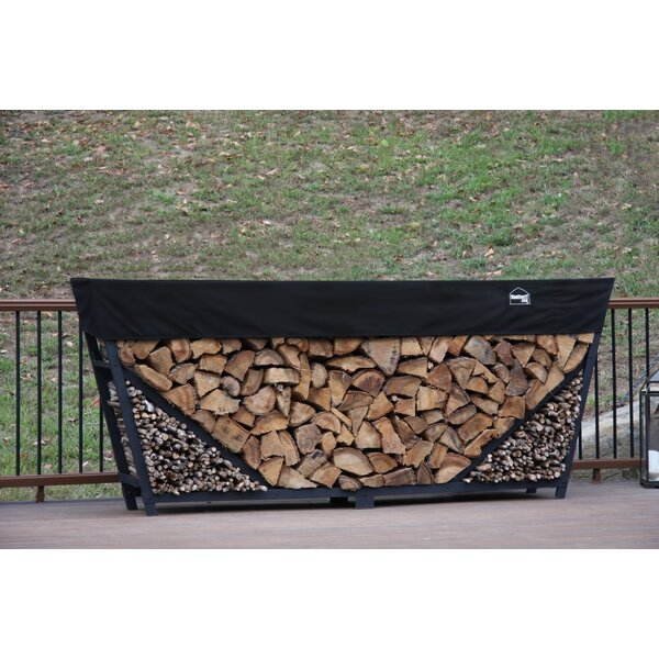 8' Slanted Firewood Log Rack With Kindling Kit And 1' Cover By ShelterIt
