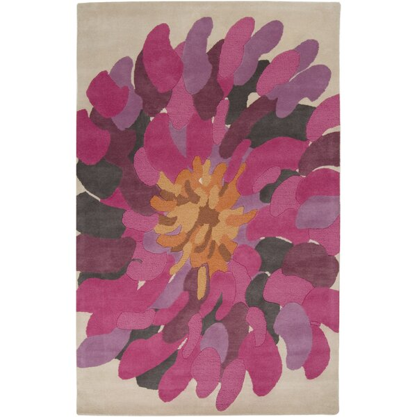 Sherburne Floral Handmade Tufted Wool Fuchsia Rug