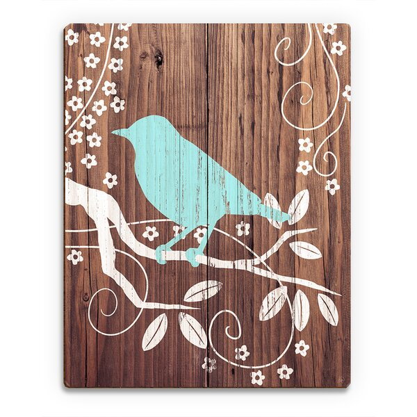 Perching Bird Turquoise Painting Print on Plaque by Click Wall Art