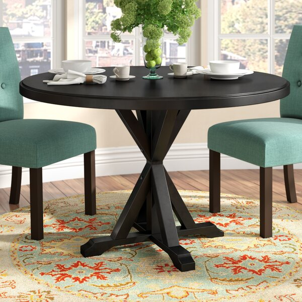 Fanning X Base Solid Wood Dining Table by Alcott Hill