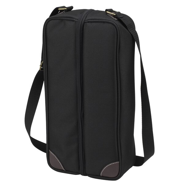 Classic Sunset Depinot Wine Carrier for Two in Black by Picnic at Ascot