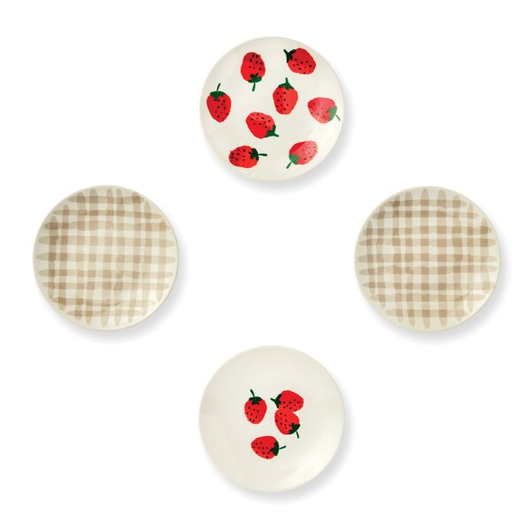 Melamine Tidbit Plates, Strawberries by kate spade