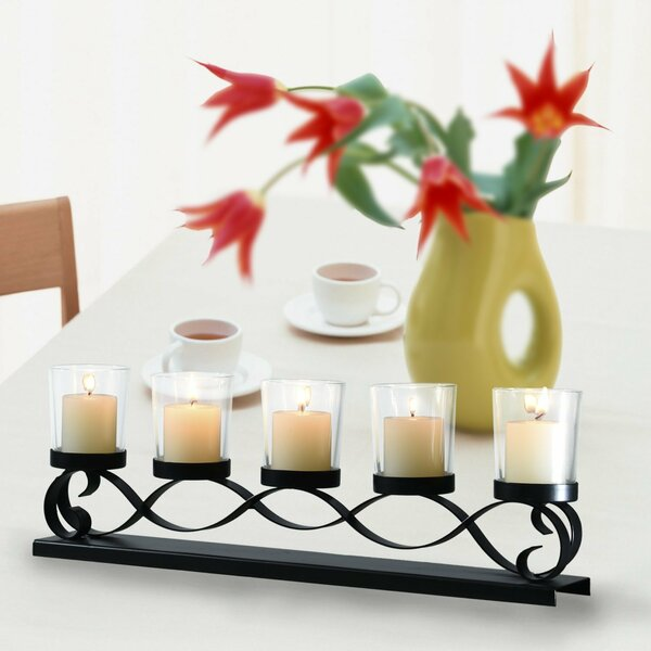 Iron/Glass Candelabra by Adeco Trading