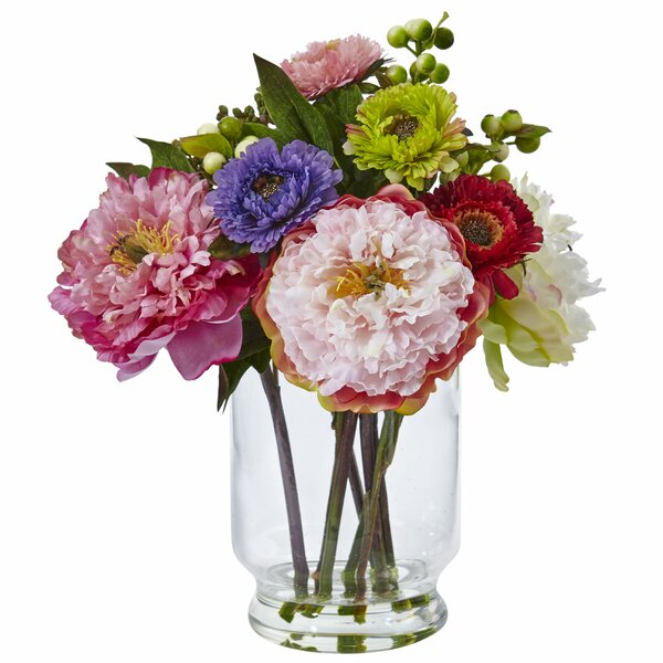 Peony/Mum Floral Arrangements in Decorative Vase by Nearly Natural