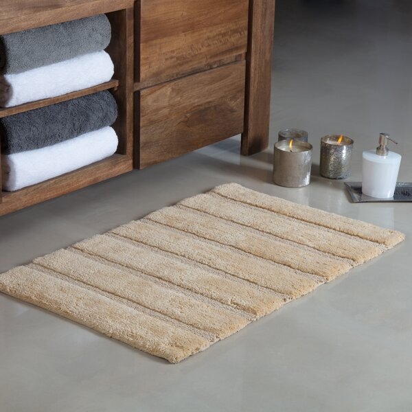 Abasi Handloom Stripe Rectangle 100% Cotton Non-Slip Bath Rug