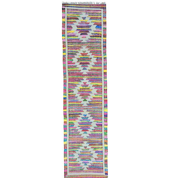 Flat Weave Kilim Hand-Knotted Cotton White/Pink Area Rug by Bungalow Rose
