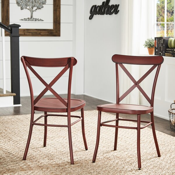 Hibbing Metal Cross Back Side Chair (Set Of 2) By August Grove