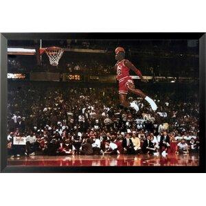 'Michael Jordan - Foul Line Dunk Sports - NBA Chicago Bulls Superstar Legend' Framed Photographic Print by Buy Art For Less