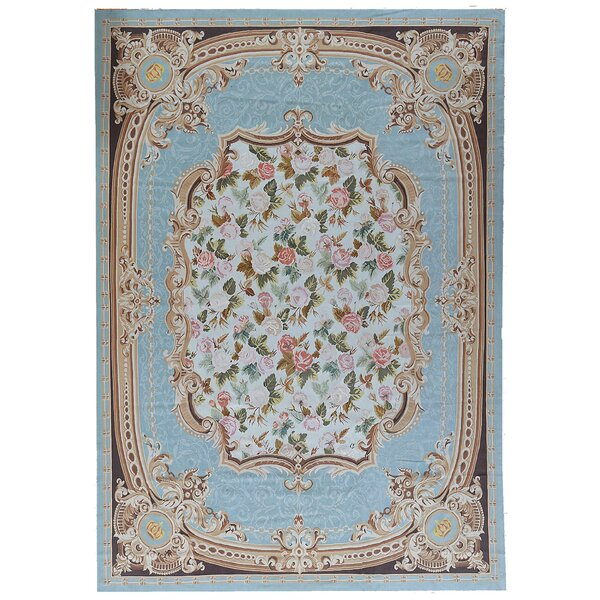 One-of-a-Kind Aubusson Hand Woven Wool Turquoise Area Rug by Pasargad