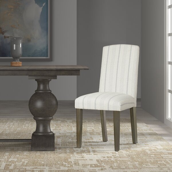 Lake Kathryn Stripe Upholstered Dining Chair (Set of 2) by Beachcrest Home