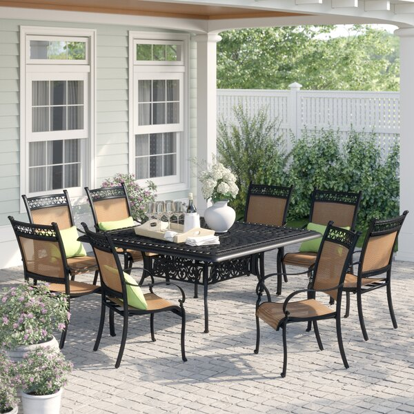 Curacao Traditional 9 Piece Metal Frame Dining Set by Sol 72 Outdoor