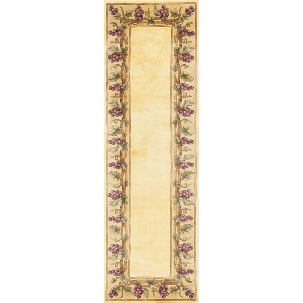 Aimee Ivory Grapes Border Area Rug by Fleur De Lis Living