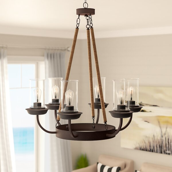 Sorrell 6 - Light Shaded Wagon Wheel Chandelier with Rope Accents by Beachcrest Home Beachcrest Home