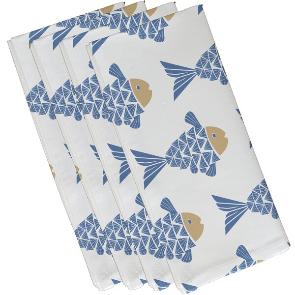 Grand Ridge Fish Tales Coastal Napkin (Set of 4) by Bay Isle Home