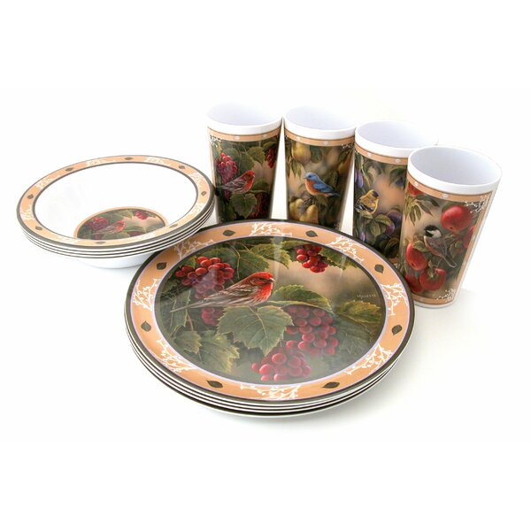 Songbird Melamine 12 Piece Dinnerware Set, Service for 4 by MotorHead Products