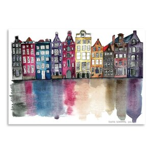 'Amsterdam' Watercolor Painting Print by East Urban Home