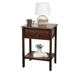 Zara Acacia Wood End Table by August Grove