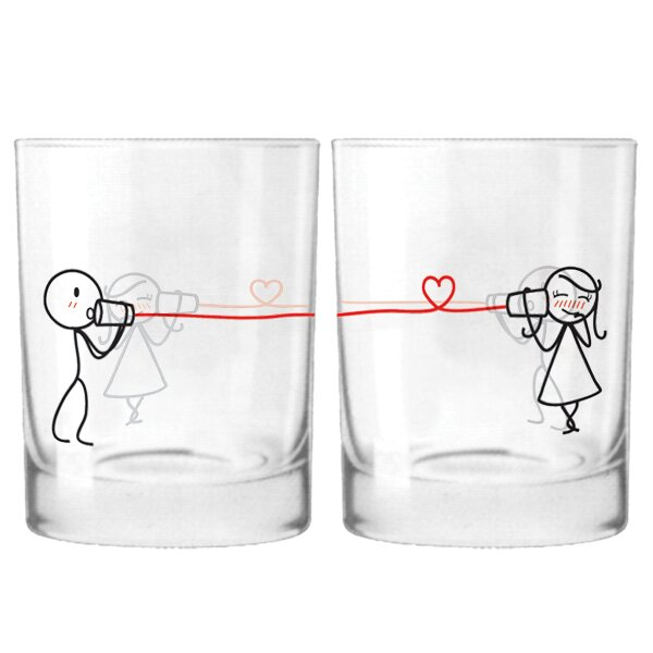 Say I Love You Are Couple 12 oz. Drinking Glass (Set of 2) by BoldLoft