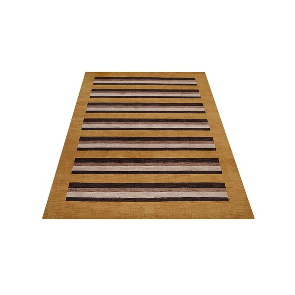 Ry Hand-Knotted Wool Gold/Brown Area Rug by Latitude Run