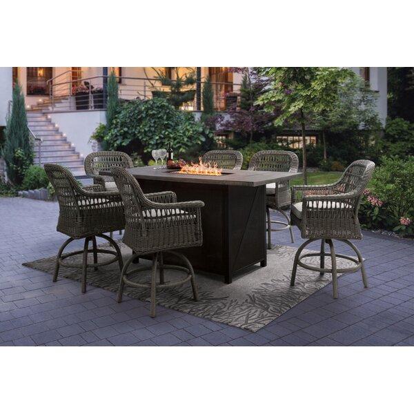 Ayda Aluminium 7 Piece Bar Height Dining Set with Cushions
