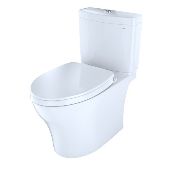 Aquia Dual Flush Elongated Two-Piece Toilet with CeFiONtect by Toto
