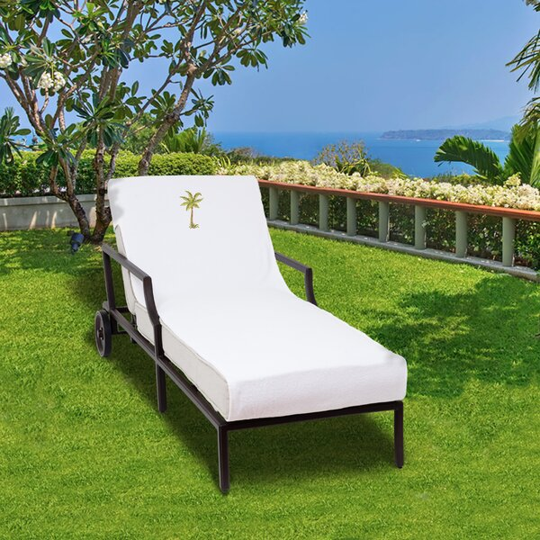 Palm Tree Embroidered Standard Patio Chaise Lounge Cover by Breakwater Bay