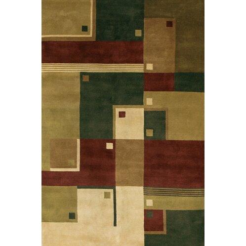 Caines Green/Brown Area Rug by Fleur De Lis Living
