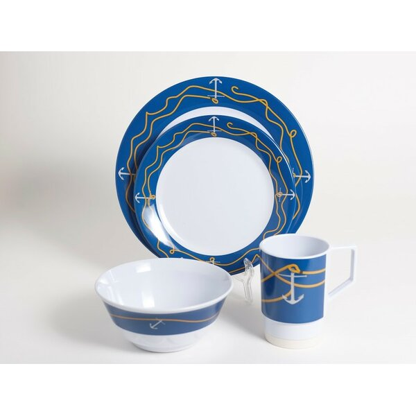 Decorated Anchorline Melamine 16 Piece Dinnerware Set, Service for 4 by Galleyware Company