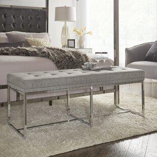 Best Reviews Fadrique Contemporary Solid Tufted Top Metal Metal Bedroom Bench ByWilla Arlo Interiors