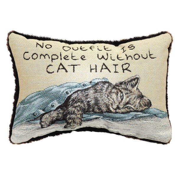 No Outfit is Complete Cat Hair Word Lumbar Pillow by Manual Woodworkers & Weavers