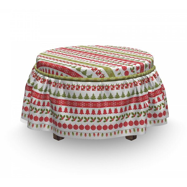 Review Christmas December Holiday 2 Piece Box Cushion Ottoman Slipcover Set