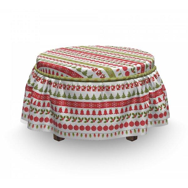Check Price Christmas December Holiday 2 Piece Box Cushion Ottoman Slipcover Set