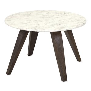 Febe Short Marble and Wood End Table by Corrigan Studio
