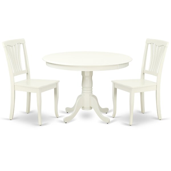 Lamons 3 Piece Solid Wood Breakfast Nook Dining Set by August Grove