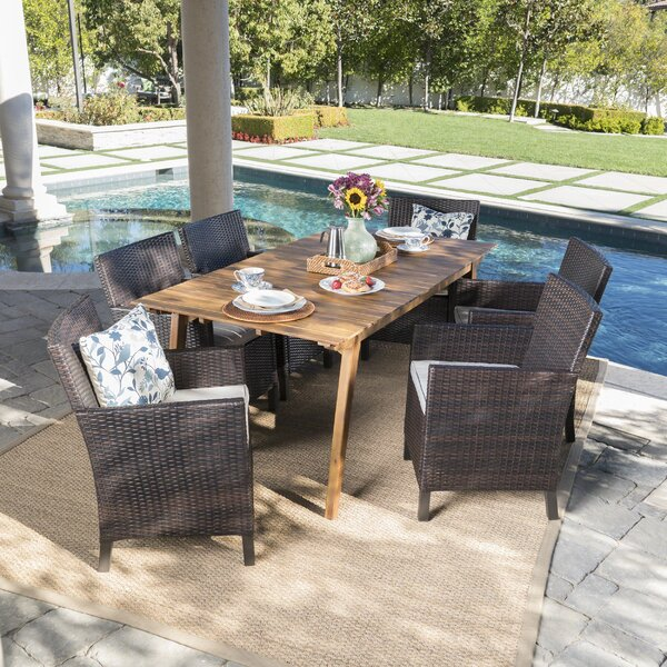 Gerdes Outdoor 7 Piece Dining Set with Cushions by Ivy Bronx