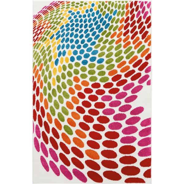 Quattrucci Red/Pink/Green Area Rug by Ebern Designs