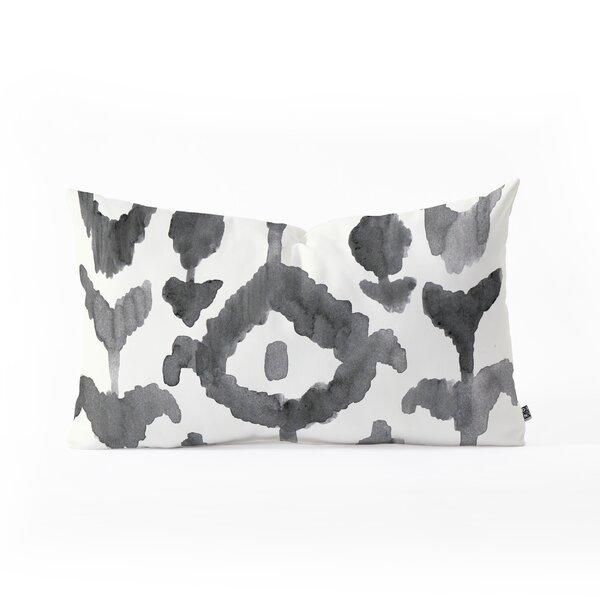 Natalie Baca Painterly Flower Ikat Oblong Indoor/Outdoor Lumbar Pillow