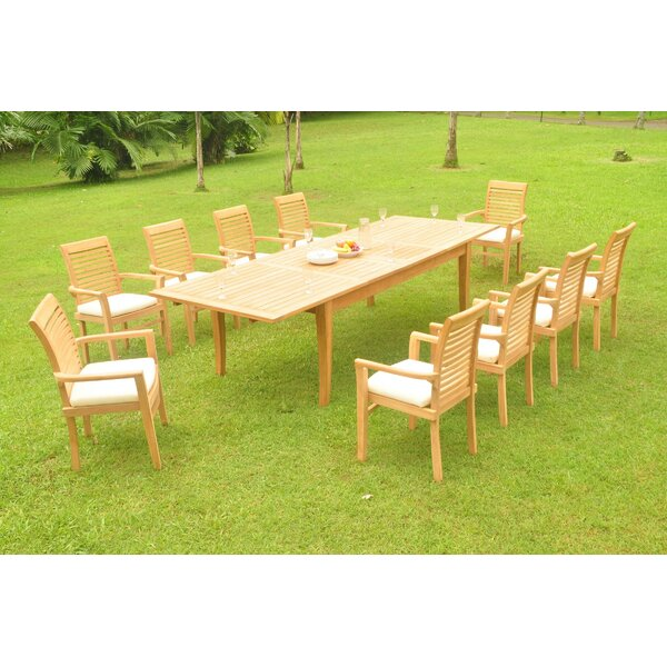 Gatun 11 Piece Teak Dining Set by Rosecliff Heights