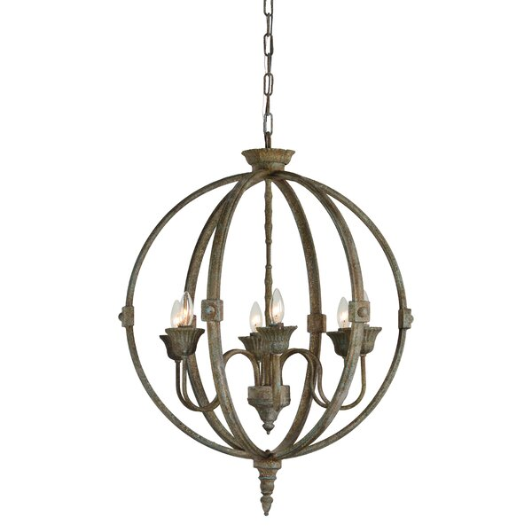 Bixby 6 - Light Candle Style Globe Chandelier By Gracie Oaks