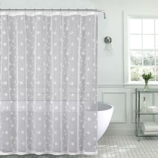 Mirtha Nature Fl Metallic Daisy Embroidered Sheer Fabric Shower Curtain